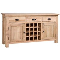 Product photograph showing Vancouver Sawn White Washed Oak 2 Door 3 Drawer Sideboard With Wine Rack
