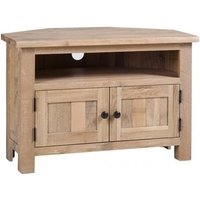 Product photograph showing Vancouver Sawn White Washed Oak 2 Door Corner Tv Unit