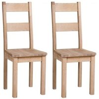 Product photograph showing Vancouver Sawn White Washed Oak Dining Chair With Timber Seat Pair