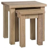 Product photograph showing Vancouver Sawn White Washed Oak Nest Of 2 Tables