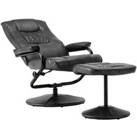 Product photograph showing Birlea Memphis Black Faux Leather Swivel Recliner Chair And Footstool