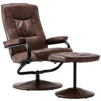 Product photograph showing Birlea Memphis Tan Faux Leather Swivel Recliner Chair And Footstool