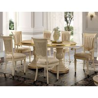Camel Aida Day Ivory Italian Oval Extending Dining Table with 6 Chairs and 2 Armchair