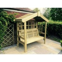 Product photograph showing Churnet Valley Cottage 3 Seater Garden Arbour Trellis Back And Sides