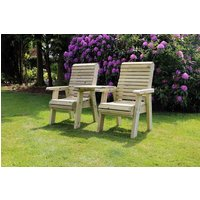 Product photograph showing Churnet Valley Ergo Garden Love Seats Square Tray Garden Chair