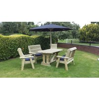 Product photograph showing Churnet Valley Ergo Garden Table Set With 2 Chairs And 2 Benches