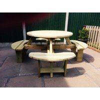 Churnet Valley Westwood Round Picnic Table Set with 4 Benches