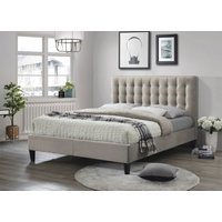 Product photograph showing Clearance - Becky Champagne 4ft 6in Double Fabric Bed - New - Fs1202