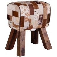 Product photograph showing Clearance - Upcycled Retro Vintage Leather Pommel Grey Horse Stool - New - Fss8968