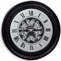 Product photograph showing Clearance Half Price - Black Mirrored Face Antique Style Moving Gears Clock - New - D206
