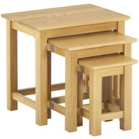Product photograph showing Clearance Half Price - Nordic Oak Nest Of 3 Tables - New - D065