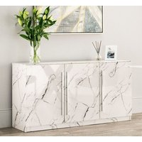 Product photograph showing Clearance - Selmont Marble Effect Large Sideboard - New - Fss8627