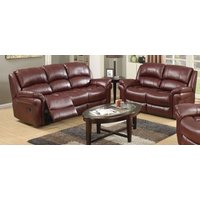 Product photograph showing Clearance - Farnham Burgundy Leather 3 2 Recliner Sofa Suite - New - Fss8992