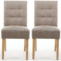 Product photograph showing Clearance - Shankar Moseley Tweed Oatmeal Stitched Back Fabric Accent Dining Chair With Natural Legs Pair - New - E-815