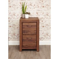 Product photograph showing Clearance Baumhaus Mayan Walnut Filing Cabinet - 2 Drawer - A34