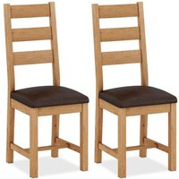 Product photograph showing Corndell Sherwood Rustic Oak Dining Chair Pair