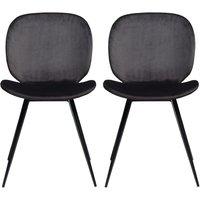 Product photograph showing Dan Form Cloud Meteorite Black Velvet Dining Chair Pair
