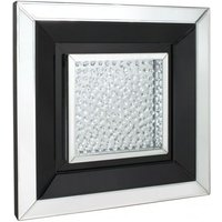 Product photograph showing Alfreton Floating Crystal Black Square Mirror Wall Art