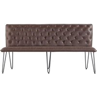 Product photograph showing Studded Back 180cm Brown Faux Leather Bench