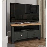 Product photograph showing Graceton Oak And Grey Painted Corner Tv Unit