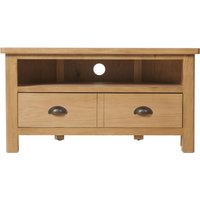 Product photograph showing Hampton Rustic Oak 2 Drawer Corner Tv Unit