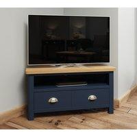 Product photograph showing Portland Oak And Blue Painted Corner Tv Unit