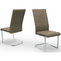 Product photograph showing Deigo Antique Taupe Faux Leather Dining Chair Pair