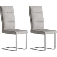 Product photograph showing Leana Antique Light Grey Faux Leather Dining Chair Pair