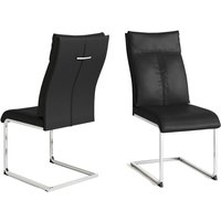 Product photograph showing Rossi Black Faux Leather Dining Chair Pair