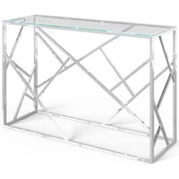 Product photograph showing Kieta Console Table - Glass And Chrome