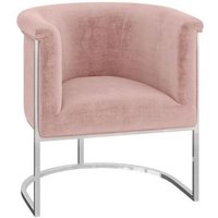 Martina Pink Velvet and Chrome Lounge Chair
