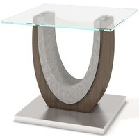 Product photograph showing Oscar Side Table - Walnut And Glass