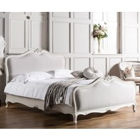 Product photograph showing Frank Hudson Chic 5ft Linen Upholstered Bed - Vanilla White