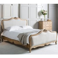 Product photograph showing Frank Hudson Chic 5ft Linen Upholstered Bed - Weathered