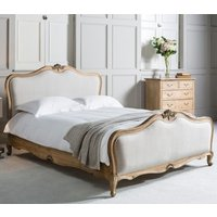 Product photograph showing Frank Hudson Chic 6ft Linen Upholstered Bed - Weathered