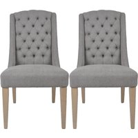 Product photograph showing Dax Slate Grey Linen Fabric Dining Chair Pair