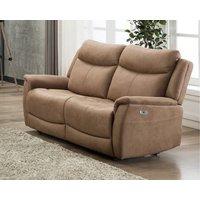 Product photograph showing Arizona Caramel Fabric 2 Seater Electric Recliner Sofa