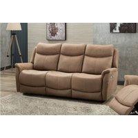 Product photograph showing Arizona Caramel Fabric 3 Seater Electric Recliner Sofa