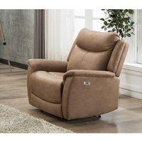 Product photograph showing Arizona Caramel Fabric Electric Recliner Armchair