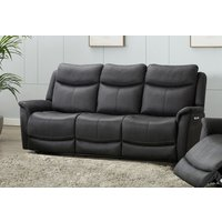 Product photograph showing Arizona Slate Fabric 3 Seater Electric Recliner Sofa