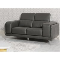 Product photograph showing Linea Grey Leather 2 Seater Swivel Sofa