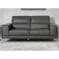 Product photograph showing Linea Grey Leather 3 Seater Swivel Sofa