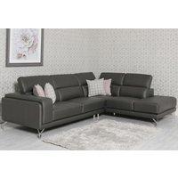 Product photograph showing Linea Rhf Grey Leather Corner Sofa
