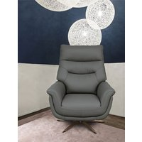 Product photograph showing Linea Grey Leather Swivel Chair
