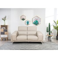 Product photograph showing Linea Putty Leather 2 Seater Swivel Sofa
