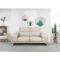 Product photograph showing Linea Putty Leather 3 Seater Swivel Sofa