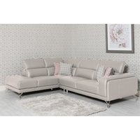 Product photograph showing Linea Lhf Putty Leather Corner Sofa