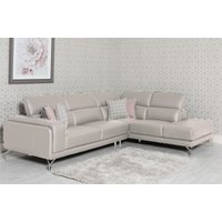 Product photograph showing Linea Rhf Putty Leather Corner Sofa