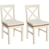 York Ivory Solid Seat Pad Dining Chair (Pair)
