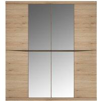 Product photograph showing Kensington Oak 4 Door Mirror Wardrobe